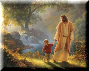 Jesus walking with boy