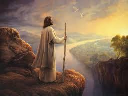 Jesus Lookiing Over River