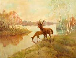 Deer and Doe at a Stream