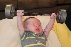 Baby Awake pumping iron