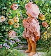Girl Looking At Roses