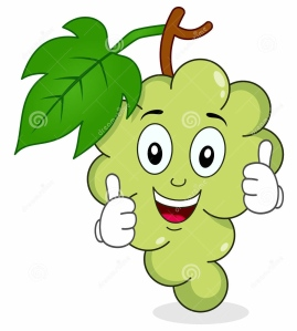 grapes with thumbs up