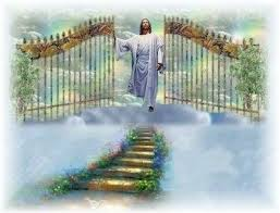 Jesus opening gates and walking down